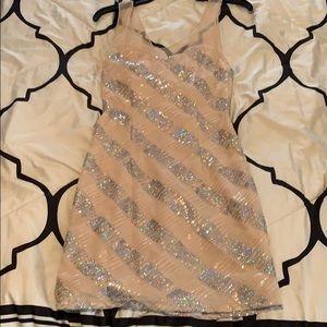 Cream Body Con Sequin Dress